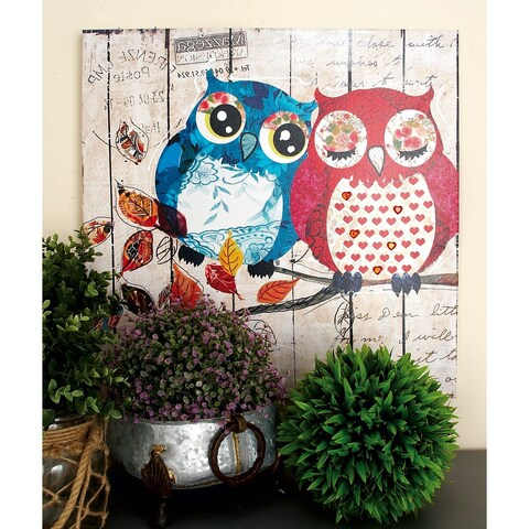 Set of 2 Eclectic 24 Inch Painted Owls Canvas Wall Art by Studio 350 - multi