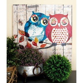 Set of 2 Eclectic 24 Inch Painted Owls Canvas Wall Art by Studio 350 - Multi-color
