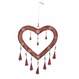 Red/Gold Iron/Glass Heart Windchime