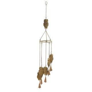 Goldtone Iron Metal Owl Windchimes