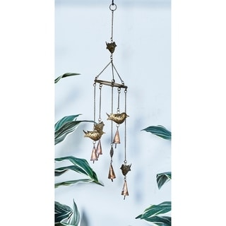 Bird Gold Metal Windchime with Rusted Copper Bell