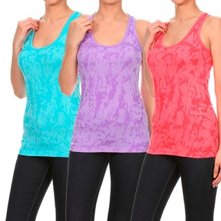 Women's Ultra Lightweight Seamless Active Living Jacquard Tank Top (3 options available)