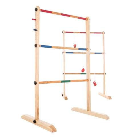 Hey! Play! Double Wooden Ladder Toss with 6 Bolas - Natural Wood - 19 x 25 x 38.5