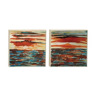 Modern Reflections 2-piece Nautical Sunset Framed Aluminum Art Set