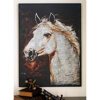 Modern 46 x 34 Inch Horse Head Framed Canvas Art by Studio 350 - Grey/Brown/White