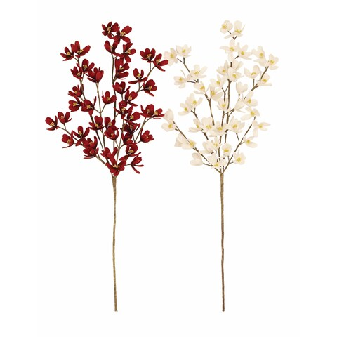 Dogwood Red and White Artificial Flowers (Set of 2)