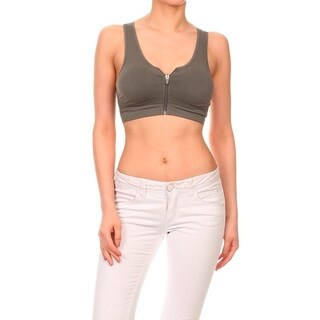 Women's Grey Seamless Performance-style Sports Bra with Front Zipper Open
