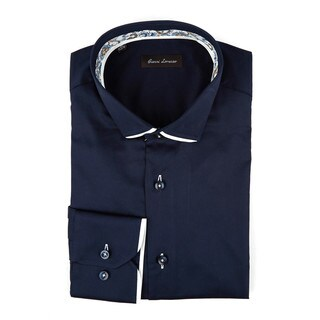 Gianni Lorenzo Men's Navy Cotton Paisley Trim Long-sleeve Dress Shirt