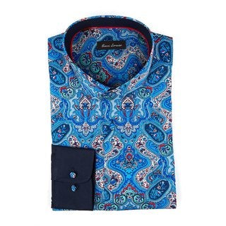 Men's Blue Cotton Full-sleeve Fashion Shirt