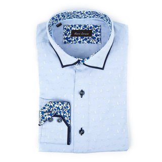 Gianni Lorenzo Men's Light Blue Cotton Floral Trim Long-sleeve Dress Shirt