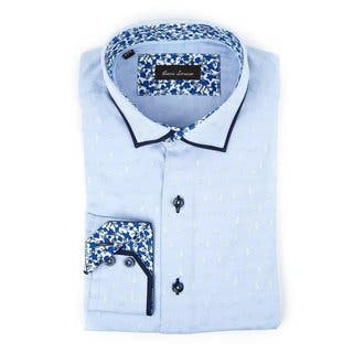 Gianni Lorenzo Men's Light Blue Cotton Floral Trim Long-sleeve Dress Shirt|https://ak1.ostkcdn.com/images/products/14564221/P21113075.jpg?impolicy=medium