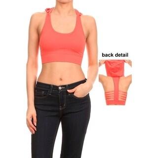Women's Orange Nylon-blend Performance-style Seamless Sports Bra With Hoodie