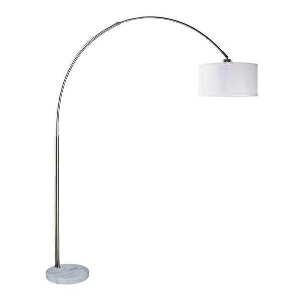 "Q-Max Steel Adjustable Arching 81"" Floor Lamp With White Extra Large Shade"