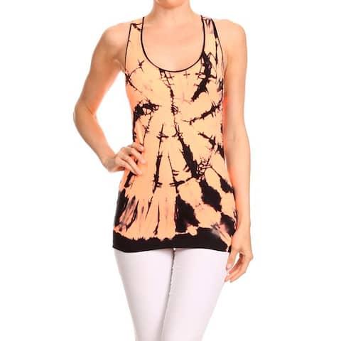 Women's Orange Nylon and Spandex Active Sport Fashion Seamless Tie-dye Tank Top