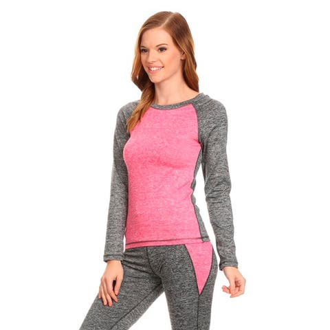 Pink/Grey Lightweight Long-sleeved Active Sports Top