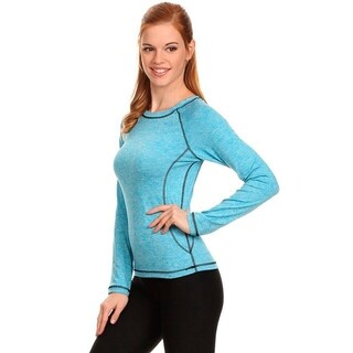Women's Blue Long-sleeve Active Workout Heathered Top