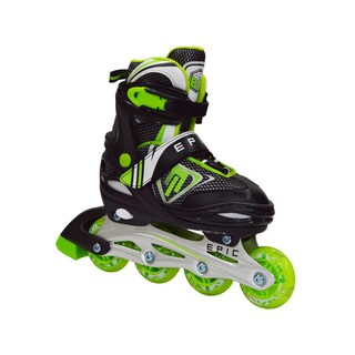 Epic Rage Boys Black Nylon Inline Indoor/ Outdoor Adjustable Recreational Skates (2 options available)