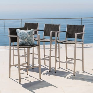 Cape Coral Outdoor Wicker Barstool (Set of 4) by Christopher Knight Home