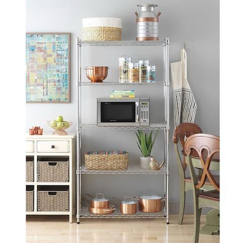 Chrome Plated Metal 5-Shelf Pantry Shelving