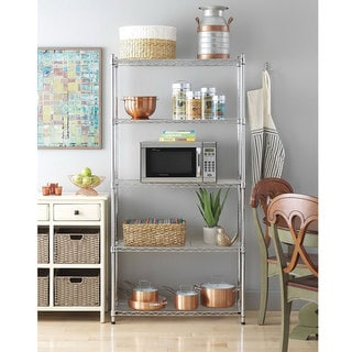 Charmant Chrome Plated Metal 5 Shelf Pantry Shelving