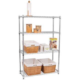 Chrome Plated Metal 4-Shelf Pantry Shelving