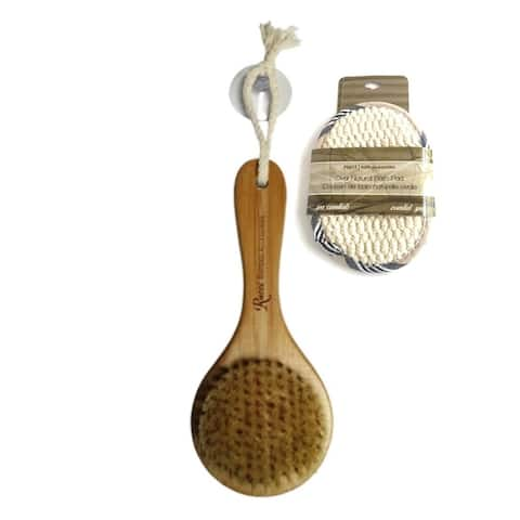 Bamboo Bath Brush with Oval Bath Pad