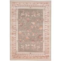 eCarpetGallery Royale Green/ Ivory Handmade Wool/ Silk Rug