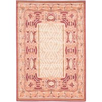 eCarpetGallery Royale Ivory/Red Handmade Wool/Silk Rug (5'3 x 7'7)