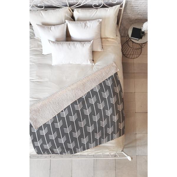 Holli Zollinger Arrows Grey Fleece Reversible Throw Blanket