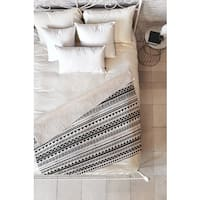 Allyson Johnson Black and White Aztec Pattern Fleece Throw