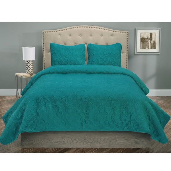 Francis Solid Color Medallion Pattern Piece Quilt Set On Sale - Blue solid color king size comforter