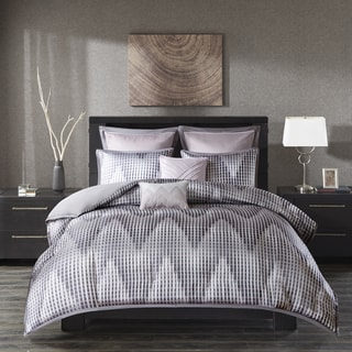 Madison Park Hailey Lavender 7 Piece Jacquard Duvet Cover Set