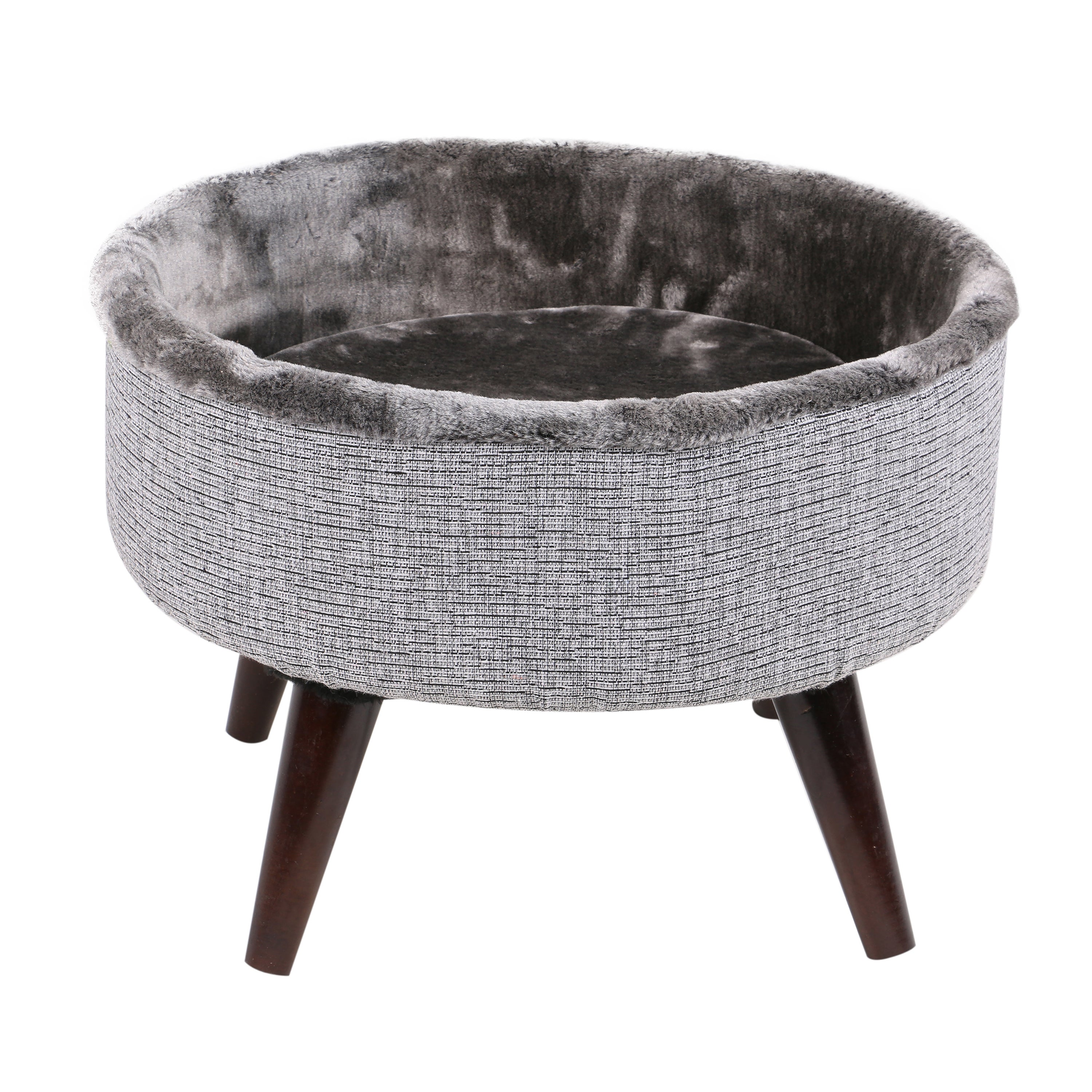 """International 16"""" Round Elevated Wooden Cat Bed (Grey)"""