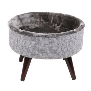 "16"" Round Elevated Wooden Cat Bed"