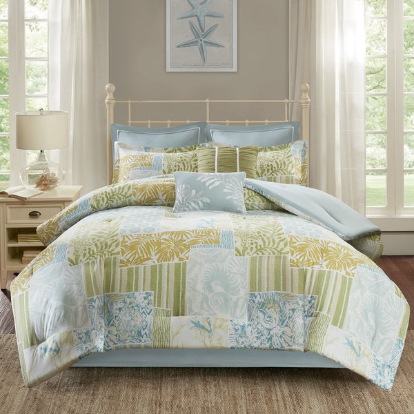 Madison Park Stone Harbor Blue/ Green Cotton Printed 8-piece Comforter Set