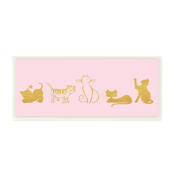 Stupell Cat Silhouette Gold and Pink Wall Plaque Art