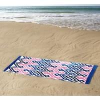 Clairebella Diamond Chevron 100% Cotton 36x72 Beach Towel