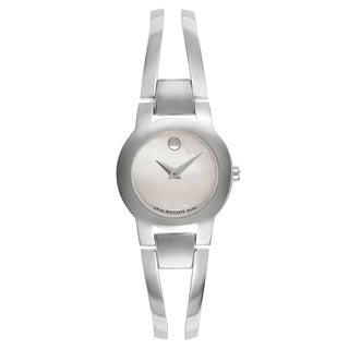 Movado Amorosa 0606538 Women's Silver Strap with White Mother-of-Pearl Dial Stainless Steel Watch - Silver/White
