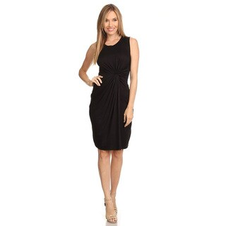 Women's Rayon and Spandex Solid Sleeveless Ruched Detail Dress