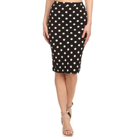 Women's Black White Polka Dot Pencil Skirt