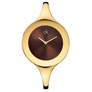 Calvin Klein Women's Mirror K2823203 Gold Strap with Bronze Dial Stainless Steel Yellow Gold PVD-coated Watch