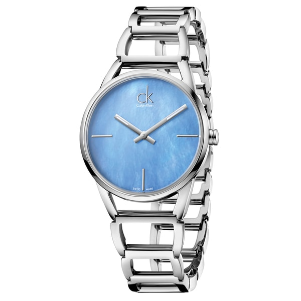 Calvin Klein Women's Stately K3G2312N Silver Strap with Light Blue Mother-of-Pearl Dial Stainless Steel Watch