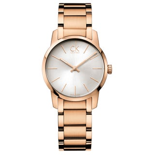 Calvin Klein City Women's K2G23646 Strap with Silver Dial Stainless Steel Rose Gold PVD Coated Watch