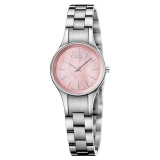 Calvin Klein Women's Simplicity K432314E Silver Strap with Pink Mother-of-Pearl Dial Stainless Steel Watch