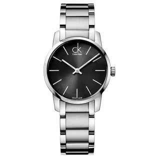 Calvin Klein Women's City K2G23161 Silver Strap with Dark Grey Dial Stainless Steel Watch