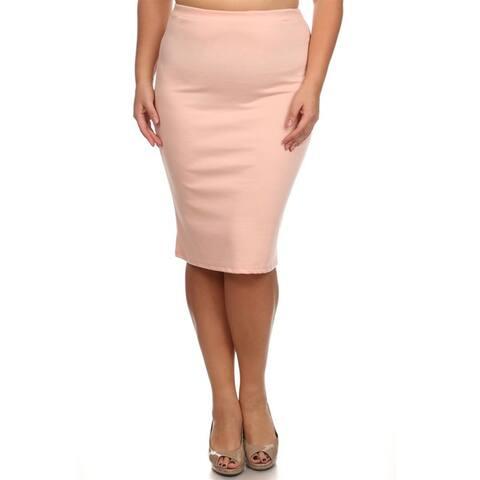 Women's Plus-size Peach Color Pencil Skirt