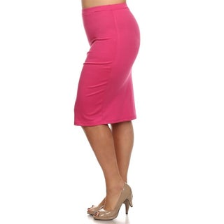 Women's Pink Plus-size Pencil Skirt