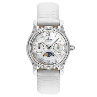 Charmex Women's Granada 6215 White Strap with White Mother-of-Pearl Dial Leather Watch