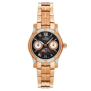 Charmex Women's Granada 6211 Rose Gold Strap with Black Mother-of-pearl Dial Stainless-steel Rose Gold PVD Coated Watch