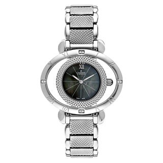 Charmex Women's Florence 6201 Silver Strap with Black Mother-of-pearl Dial Stainless-steel Watch